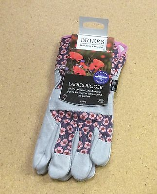 Briers Ladies Workwear Gardening Gloves Poppy Design Rigger Gloves B5570 (Med)