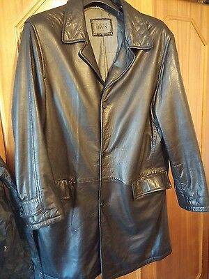 Mens Classic Black Leather Long-Sleeve Button-Down Coat Jacket 54