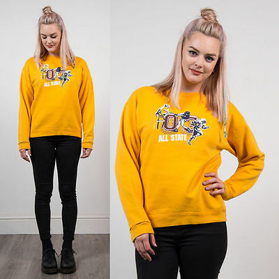Vintage Yellow Usa Crew Neck Sweatshirt Jumper Sweater 90's Style Casual 10
