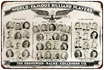 World Famous Billiard Players Vintage Look Reproduction Metal Sign 8x12 8122611