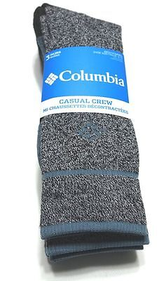 Columbia 3 Pack Casual Crew Socks Men's 10-13 Shoe Size 6-12 Charcoal NEW