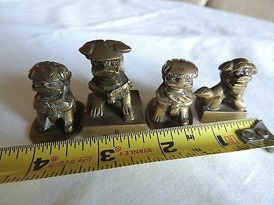Chinese carved foo fu dog lions chops seals
