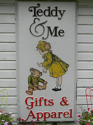 Vintage store sign teddy & me gifts apparel 71 x 36 embossed hand painted child