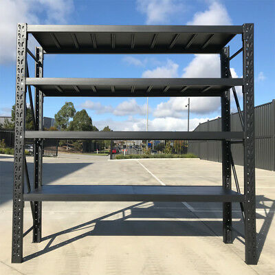 2.0M Metal Warehouse Racking Storage Garage Shelving Shelf Shelves - Matte Black