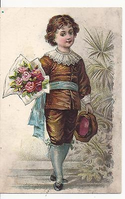 Lion Coffee Trade Card Victorian Boy With Roses 1890's