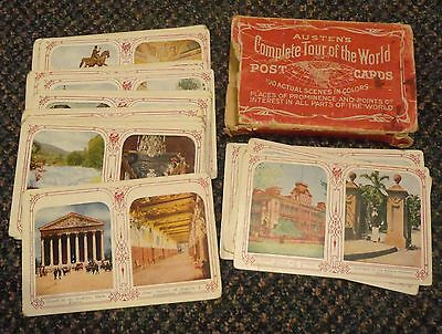 1909 Austen's Complete Tour of the Worlds Postcard Set with original box