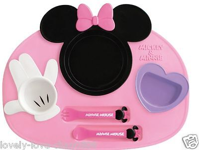 Nishiki Made in Japan Disney Minnie mouse baby tableware dishes set F/S