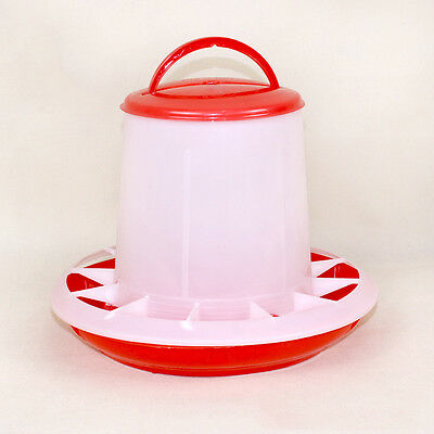 1.5kg Red Plastic Feeder Chicken Hen Poultry Drinker Waterer with Lid & Handle