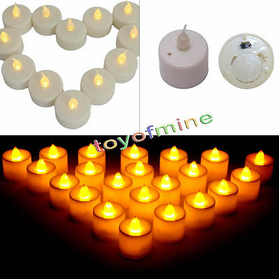 24 Flameless Battery Operated LED Tea Light Flickering Amber Tealights Candles
