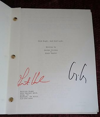 GOOD NIGHT AND GOOD LUCK Screenplay Script signed George Clooney Grant Heslov