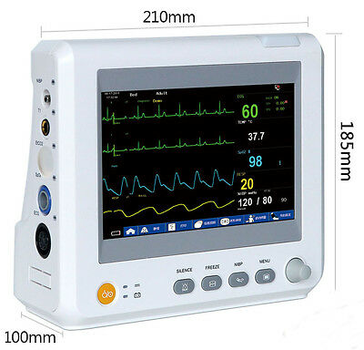 "ICU CCU 7"" Vital Signs Patient Monitor Portable 6 Parameters NIBP ECG SpO2 TEMP"