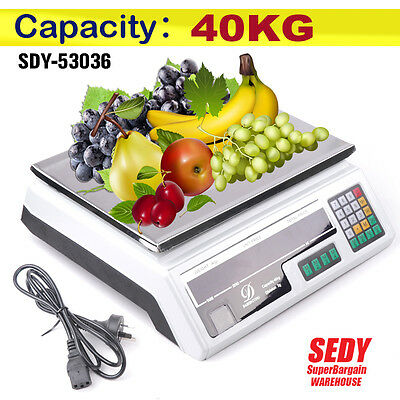 Kitchen Scale Digital Commercial Shop Electronic Weight Scales Food 40kg