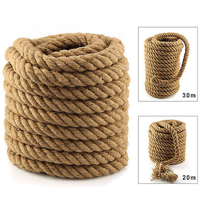 20m 30m Heavy Duty 4 Strand Super Strong 35mm Tug Of War Rope Garden Decking
