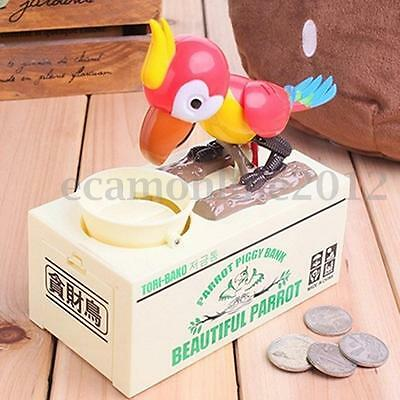 Automatic Parrot Stealing Piggy Bank Coins Money Saving Box Battery Operated Fun