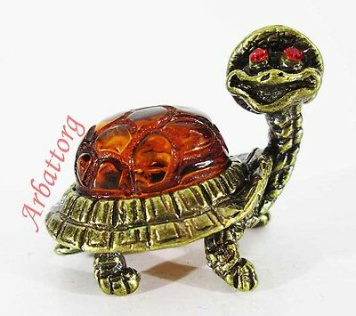 Bronze Solid Brass Baltic Amber Figurine Land Turtle Statuette