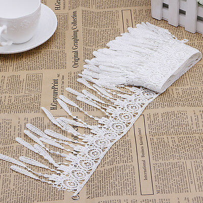 Yards White Embroidered Lace Trim Tassel Fringe Sewing Applique Trimmings