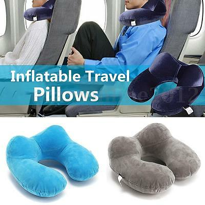 Foldable U-shaped Inflatable Neck Pillow Cushion Travel Air Plane Car Sleeping