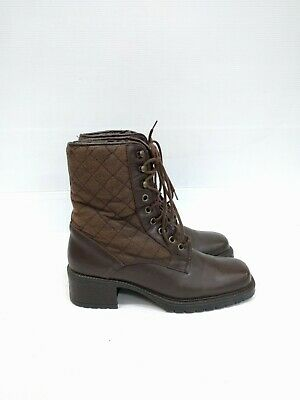 Size 38 Vintage Ladies Brown Quilted grunge leather lace up ankle boots