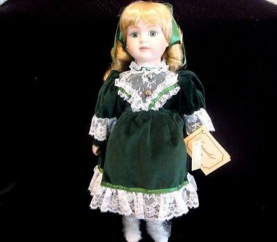 """Camelot Porcelain Victorian Style Doll """"Megan"""" Collectible With Stand 16"""""""