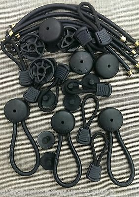8 Stayput BLACK Bungee Ultimate Shock Cords & 8 Pull Cords (Saves your fingers!)
