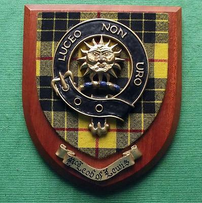 Old Scottish Carved Oak Chief Clan MacLeod Coat  Arms Plaque Crest Shield