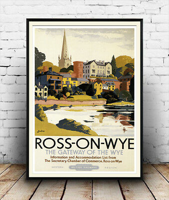 Ross on wye: Vintage Railway Travel advertising , Reproduction poster, Wall art.