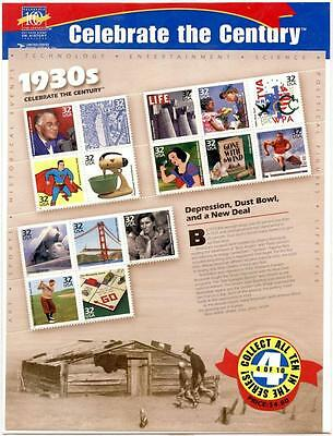 X025 Sheet of Celebrate The Century Stamps, Superman 1930's