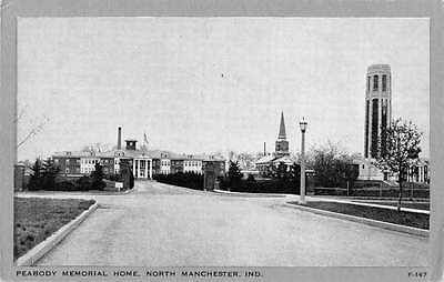 Manchester Indiana Peabody Memorial Home Street View Antique Postcard K35870
