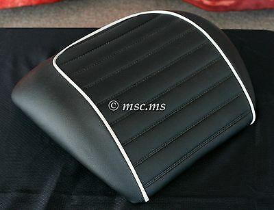 VESPA GTS Supersport Backrest Pad (Black with White Piping) NEW OLD STOCK !