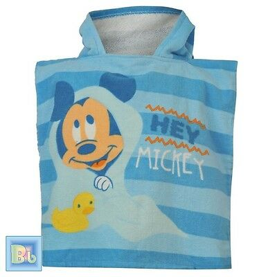 Baby Boys rrp £13 Poncho Towel &Ears 0-3-6-9-12-18-24 Months Disney Mickey Mouse