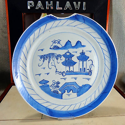 Antique Chinese Porcelain Hand Painted Plate Temple Boat Blue & White Shipwreck