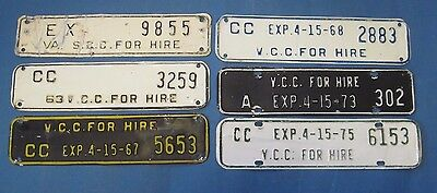 group of SCC and VCC license plate attachments from Virginia 1955-1975