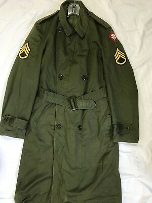 Us Army Korea War Vintage Overcoat Og 107 Wool Liner Trench Coat 4Th Army Patch