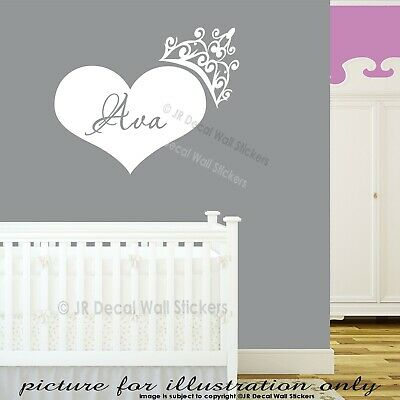 Personalized Name Heart Shaped Wall Decals Crown Nursery Home Decor Stickers PR2