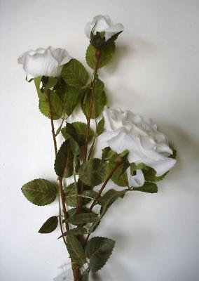 Pack 12 Stems White Spray Rose Artificial Silk Flowers x3 Blooms