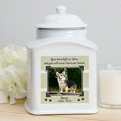 Personalized Dog Memorial Urn Pet Photo Cremation Urn Never Leave Our Hearts