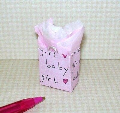 Miniature Colorful Gift Bag/Baby Gift-Girl (Pink): DOLLHOUSE Miniatures 1/12
