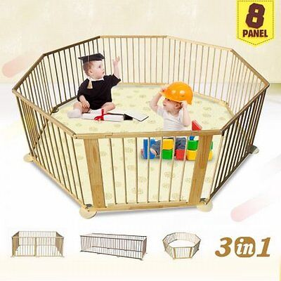 NEW Large 8-Panel Kids Baby Toddler Deluxe Wooden Playpen Divider - Woodgrain