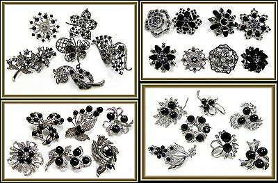 6 pc WHOLESALE LOT Black Rhinestone Bling Silver BROOCH PIN Wedding