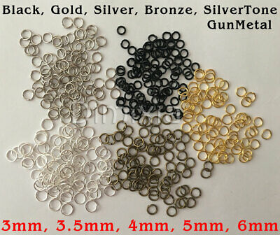 100x Silver Gold Bronze Black Open Jump Rings Split Ring Round 3mm 4mm 5mm 6mm
