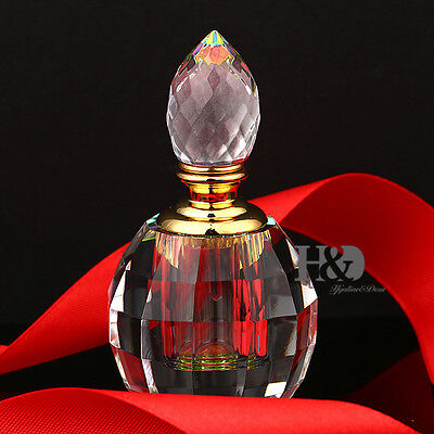Vintage Cut Crystal Perfume Bottle Round Diamond Stopper Wedding Empty Gifts 3ml