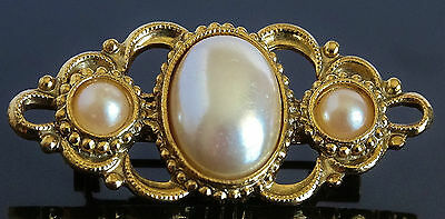 Vintage Victorian Look Small Brooch Open Work Design w Oval Centre Faux Pearl 86