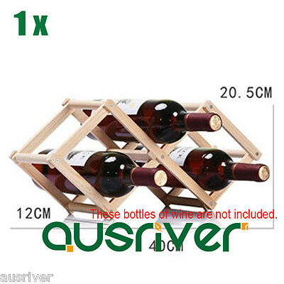 Brand New Foldable Premium Stable Wooden 3 Bottles Wine Rack Bottle Holder Shelf