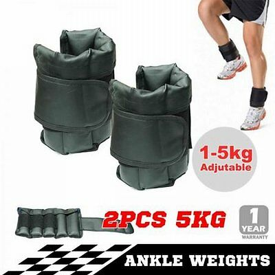 NEW 2x 5kg Adjustable Fitness Exercise Ankle Weights Gym Training Equipment 10kg