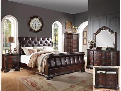Crown Mark RB1150 Sheffield Sleigh king Bedroom Set Traditional 2 Night Stands