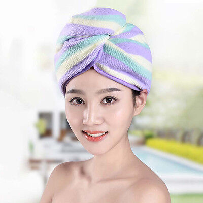 Hot Lady Bathing Shower Cap Super Absorbent Dry Hair Hat Comfy Turban Washcloth
