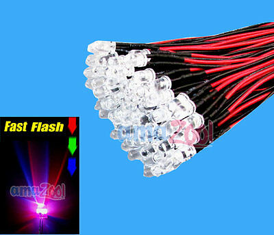 20pcs x 3mm Slow RGB Pre Wired LED Lights Lamp Red Green Blue 12V 20cm Bulbs