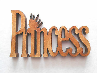 10x WOODEN PRINCESS SHAPES gift tag craft card scrapbook embellishment make art