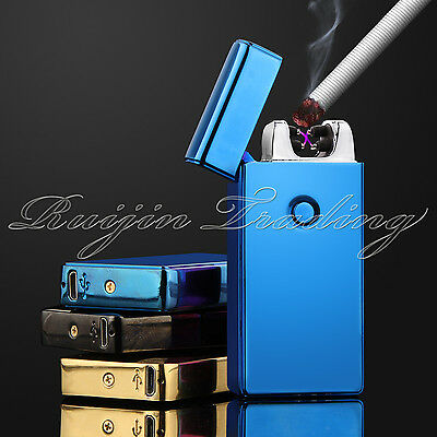 Electric Plasma Double Arc Lighter Windproof Flameless USB Rechargeable blue