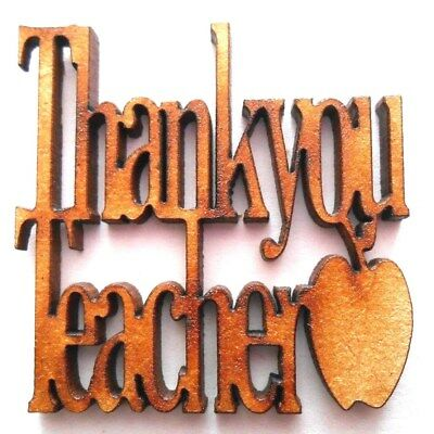 10x WOODEN THANK YOU TEACHER SHAPES gift tag craft card embellishment scrapbook